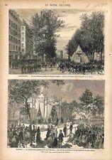 Marseille Cours Belsunce/Madrid Reine Mercedes Pavillon de la Feria GRAVURE 1878