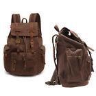 Men Women's Vintage Canvas Leather backpack Rucksack laptop Satchel School Bags