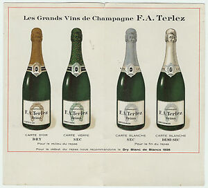 RARE Folding Advertising Card Brochure Terlez French Champagne Wine 1928