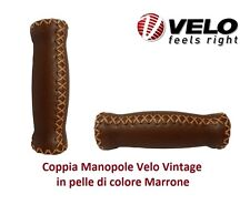 Coppia Manopole Velo Vintage in Pelle Marrone per Bici 20-24-26 BMX Freestyle