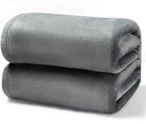"BEDSURE Luxury Grey Fleece Blanket Cozy Lightweight Silky Soft King Sz 108""x90"""