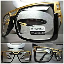 VINTAGE RETRO HIP HOP RAPPER PARTY FLY Clear Lens EYE GLASSES Black & Gold Frame