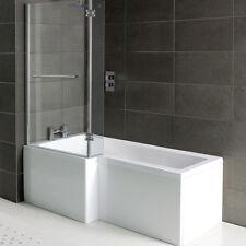 Left Hand L Shaped Shower Bath 1500mm Panel Glass Shower Screen Towel Rail