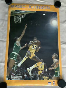 Starline Magic Johnson Poster -1980's - L.A. Lakers Boston Celtics Yellow Border
