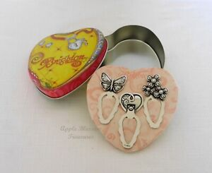 """BRIGHTON ~ 3 SILVER """"GARDEN"""" PAGEMARKERS BOOKMARKS~BUTTERFLY FLOWERS HEART~NEW"""