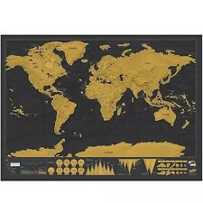 World Travel Map Poster Luckies Big Deluxe Edition Scratch Off Black Gold