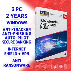 Bitdefender Antivirus Plus 2021 3 PC 2 Jahre / VOLLVERSION + VPN