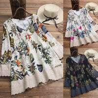 Women Long Sleeve Vintage Floral Print Patchwork Blouse Lace Tops Tunic Shirt