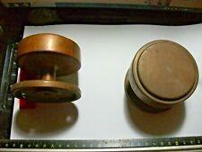 """Brass Pair Door Knobs Handles by Dryad  large art deco Bank door ! 3"""" across"""