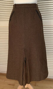 Aquascutum Vintage Brown 100% Wool Skirt Size UK 8/10 Fitted Long A-Line Skirt