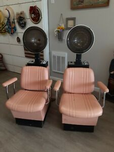 2 Vintage Retro Salon Hair Dryer Chairs Tested Work Pink 50s Style Venus Belmont