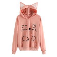 Women Ladies Cat Long Sleeve Hoodie Sweatshirt Jumper Sweater Pullover Tops Coat