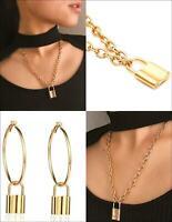 Fashion Lock Pendant Padlock Charm Gold Necklace Chain Women Jewelry