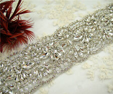 Vintage Rhinestone Bridal Belt Crystal Wedding Sash Accessory Any Colour Ribbon