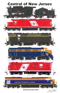 """Central Railroad of New Jersey Locomotives 11""""x17"""" Poster Andy Fletcher signed"""