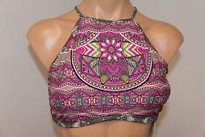 New Jessica Simpson Swimsuit Bikini Bra Top Sz XL High neck Stone