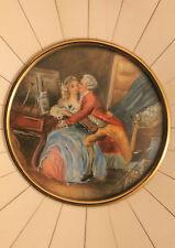 Miniature peinte à la main ; couple de bourgeois