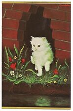 1967 Morris Katz Oil Painting WHITE KITTEN Bricks and Flowers Vintage  Postcard