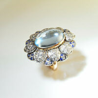 Art Deco Aquamarine Cabochon Diamond Sapphire Ring 1920s 1930s 1940s 14K Gold
