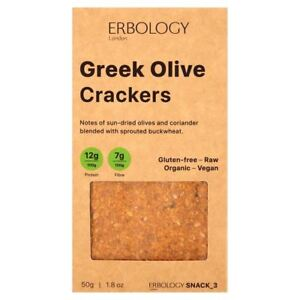 Erbology Organic Greek Olive Crackers 50g (Pack of 4)