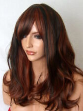 Womens Long Curly brown highlight real natural fashion party Ladies Wig A13