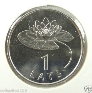 Latvia Coin 1 Lats Water Lily Waterlily 2008 UNC