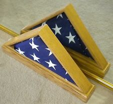 VET LIGHT OAK DOUBLE VIEW FLAG DISPLAY CASE BOX AMERICAN MILITARY FUNERAL 5 X 9