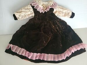 """Antique Doll Dress velvet & Lace, made for 20"""" German Bisque Doll"""