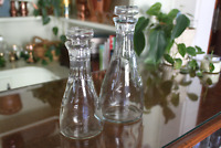Vintage Good Seasons Glass Vinegar/Oil Cruets with Glass Stoppers - Set of 2