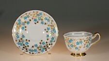 Royal Chelsea Handpainted Gold Gilt Turquoise Floral Buds Cup and Saucer,England
