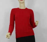 Polo Ralph Lauren Womens Sweater Medium Red Cashmere Fall Cable Knit