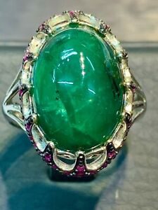 NATURAL EMERALD 16X12 RUBY DIAMOND CUT STERLING SILVER925 RING