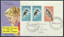 1960 NEW ZEALAND HEALTH STAMP FDC - BIRDS COMBO - CACHETED!