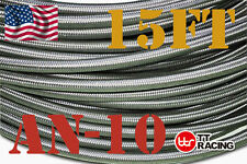 15 Feet AN10 Stainless Steel Braided Racing Fuel Oil Gas Line Hose 10AN