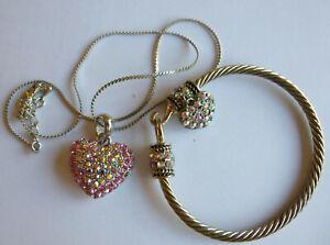 Multicoloured rhinestone heart necklace by Pia and rhinestone bangle