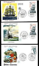 1975 France FDC x 6 - French Sailing Ships - 0.90 Fr Stamp +5 other FDC