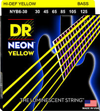 DR NYB6-30 6 string Hi-Def Neon Yellow Coated Bass Guitar Strings 30-125 MED