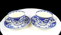 """RIDGWAY LAWLEY ENGLAND BLUE DANISH BLUE & WHITE 2 2 3/8"""" CUP & SAUCER SETS 1955-"""