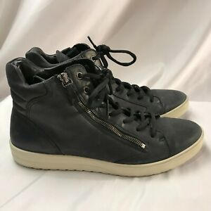 Ecco Blue Leather Ankle Boot High Top Sneaker High Men's Soft Size 42 US 8.5