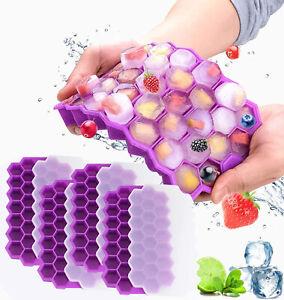 4 Stück Eiswürfelform Silikon Eiswuerfelbehaelter Mit Deckel Ice Tray Cube Lila