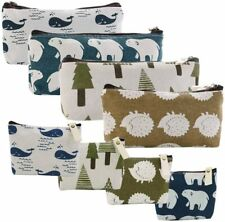Cosmetic Makeup Bags 8 Packs Canvas Pencil Pen Zipper Pouch Small Forest and Ani