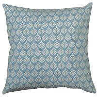 "XL Scandi Minimalist Leaf Cushion. 23"" Square. 100% Cotton. Cornflower Blue."