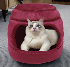 "Plush Convertible Pet Bed Cat Dog Shelter 16""x12""x12.5&#0 34; Cozy Warm Soft Lounge"