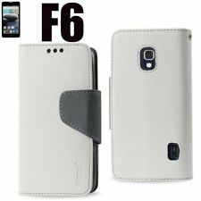 For LG Optimus F6 MS500 -Leather Card Wallet Holder Flip Pouch Case WHITE / GRAY
