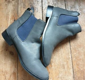 Red Herring size 8 dealer style grey leather slip on ankle boots. Elastic panel.