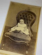 Antique Civil War Era Victorian Child on Chair, American, Connecticut CDV Photo!