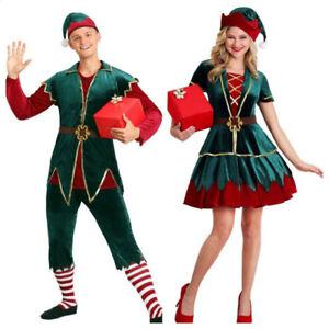 Deluxe Christmas Costume Women Men Fancy Dress Elf Adult Cosplay Costume
