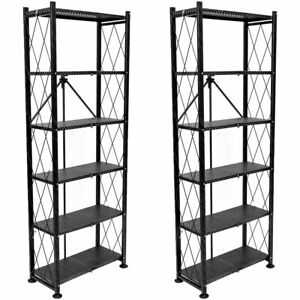 Origami 6 Tier Classic Steel Bookcase Organizer Storage Rack, Black (2 Pack)