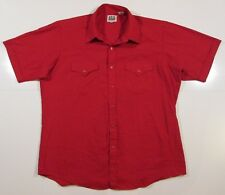 Vintage Ely Cattleman western Red pearl snap shirt mens size 17 XL Red Cotton