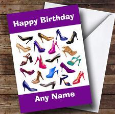 Girls Shoe Fetish Fan Personalised Birthday Greetings Card